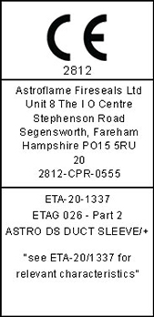 CE ETA Label Astro DS Duct Sleeve